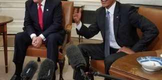 El presidente Trump y el presidente Obama en una reunión en la Oficina Oval, 10 de noviembre de 2016. Fuente: Wikipedia. Autor: Jesusemen Oni / VOA