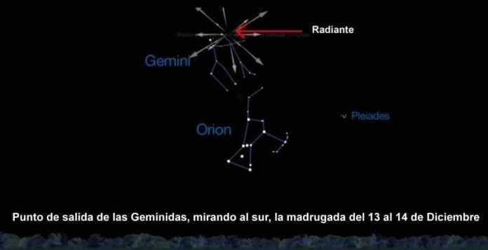 Mapa celeste para la observación de la lluvia de meteoros de las Gemínidas. Image Credit: NASA