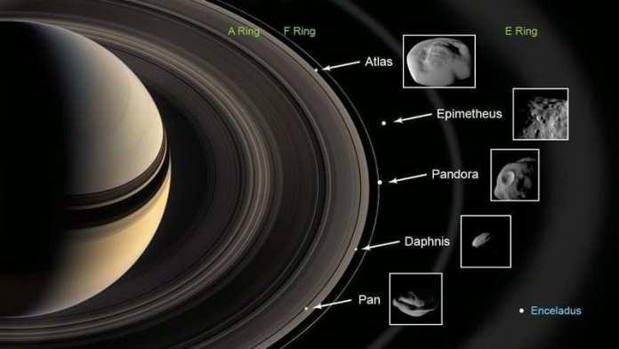 Este gráfico muestra las lunas del anillo inspeccionadas por la nave espacial Cassini de la NASA en sobrevuelos cercanos. Los anillos y las lunas representados no están a escala. Image Credit: NASA/JPL-Caltech