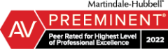 A Martindale-Hubbell Peer Rating reflects a combination of achieving a Very High General Ethical Standards rating and a Legal Ability numerical rating.