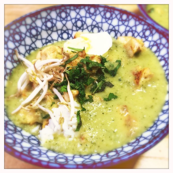 Kip en rijst met courgette-currysoep - Chicken and rice with zucchini curry soup