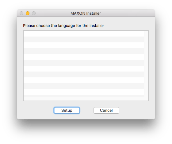 MAXON Installer not showing languages in list