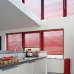 Red metal venetian blinds