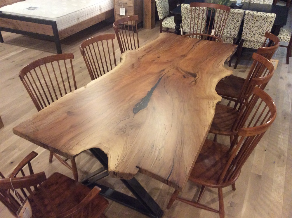 live edge sycamore dining table with xenon iron base
