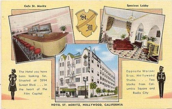 Hotel St Moritz, Hollywood postcard