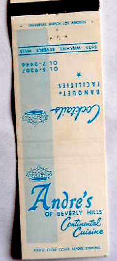 Andre's of Beverly HIlls matchbook