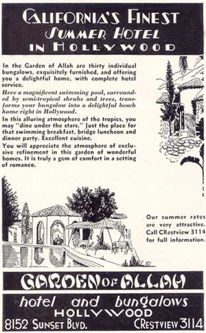 Newspaper Advertisement For The Garden Of Allah Hotel U0026 Bungalows