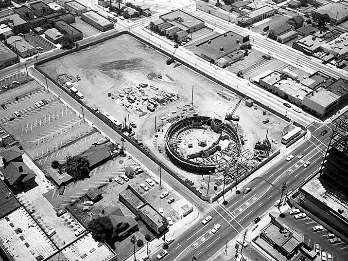 The Cinerama Dome cinema under construction, 1962 |
