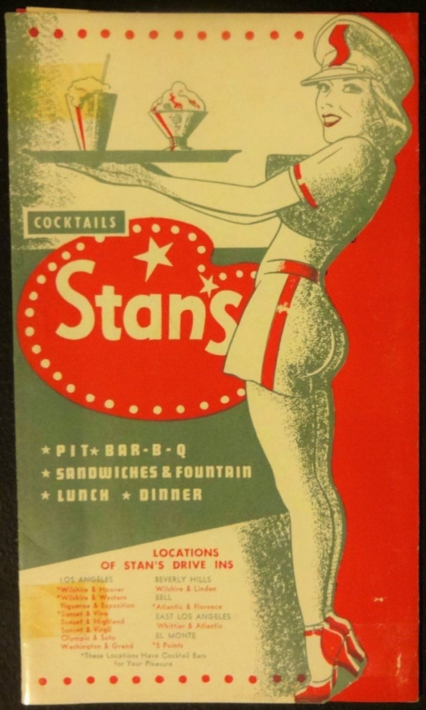 Stan's drive-in menu cover