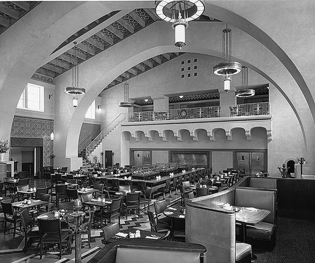 Union Station Apartments: Harvey House Restaurant, Los Angeles Union Station, 1939