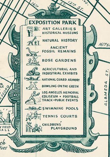 Sightseeing and stars homes map of Los Angeles and Hollywood 1940s