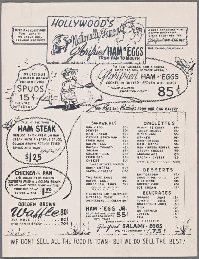 Menu from Hollywood's Glorifried Ham'n'Eggs