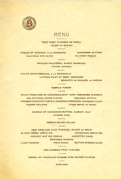 Hollenbeck Hotel Los Angeles Christmas menu