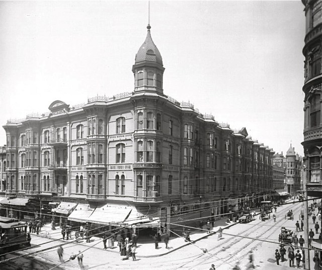 Hollenbeck Hotel at Spring St and 2nd St, downtown Los Angeles, circa early 1900s