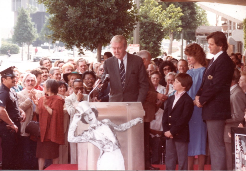 Jimmy Stewart at Eleanor Powell's Walk of Fame ceremony 15FEB1984