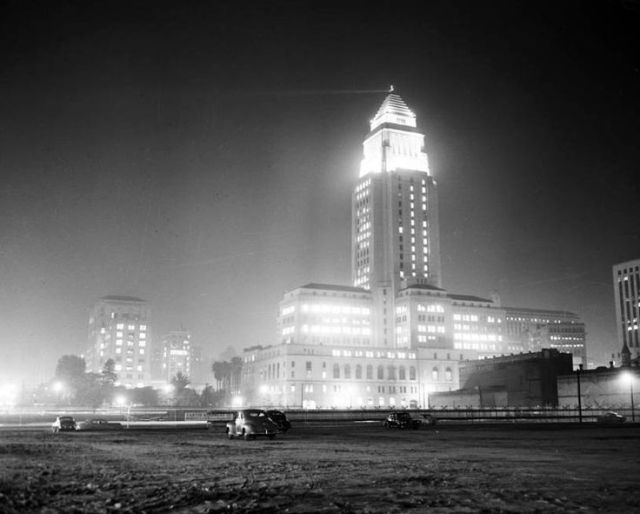 Los Angeles City Hall at night, circa 1951