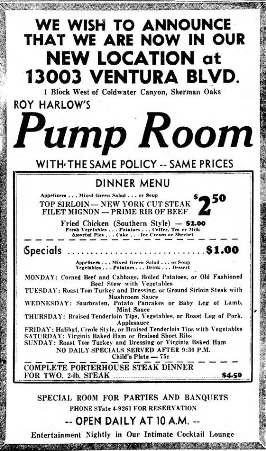 Pump Room, Ventura Blvd advertisement
