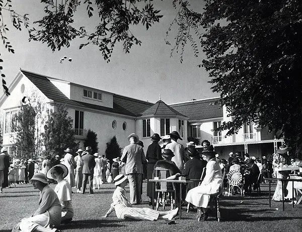 A lawn party at Pickfair, the home of Douglas Fairbanks and Mary Pickford in Beverly Hills, circa 1935