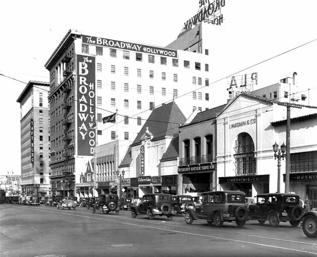 Hollywood Blvd near Vine St showing Broadway department store and I. Magnins, early 1930s