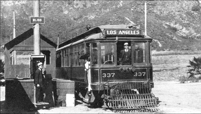 Los Angeles streetcar at Bliss, a station located north of Glendale, 1909