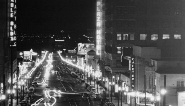 night view looking down Vine Street from Hollywood Blv
