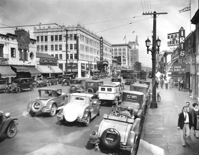 Hollywood Blvd looking east toward Wilcox Ave corner, 1928