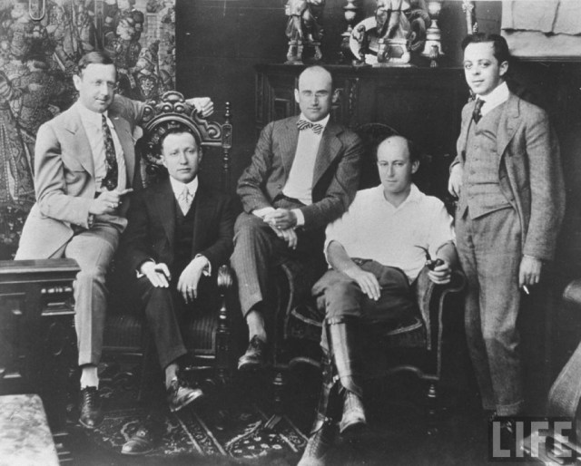 motion picture pioneers - Left to right: Jesse L. Lasky, Adolph Zukor, Samuel Goldfish (later Goldwyn), Cecil B. DeMille and Albert Kaufman (1916)