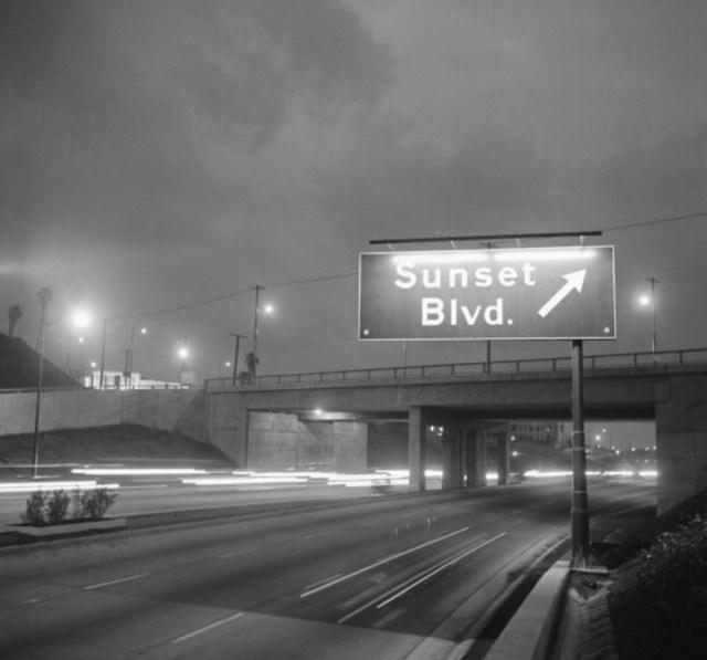 Noirish view of Sunset Blvd. Exit, Hollywood Freeway, circa 1960