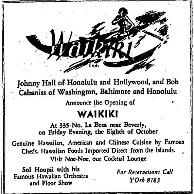 Advertisement Waikiki restaurant, 335 N. La Brea Ave