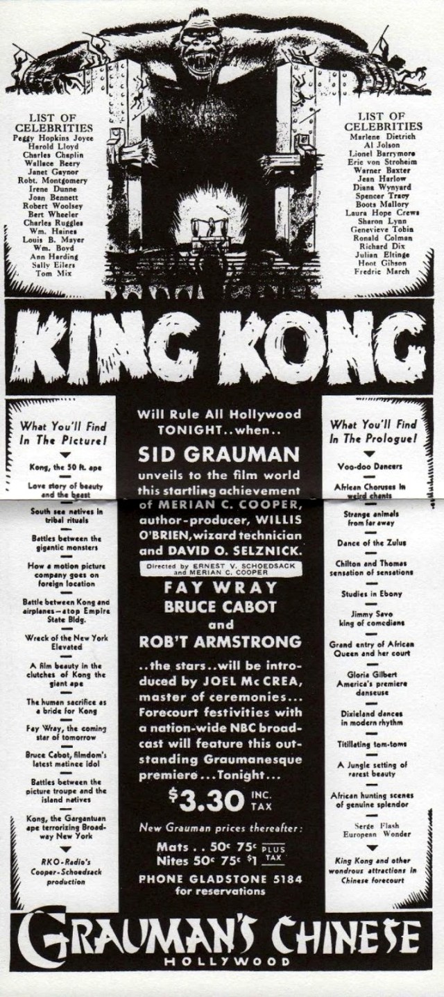 "Advertisment for the Hollywood premiere of ""King King"" at Grauman's Chinese Theatre, March 1933"