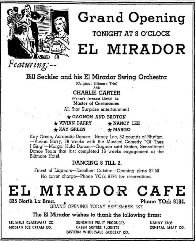 El Mirador Cafe, 335 N. La Brea Ave 9-1-36 advertisement