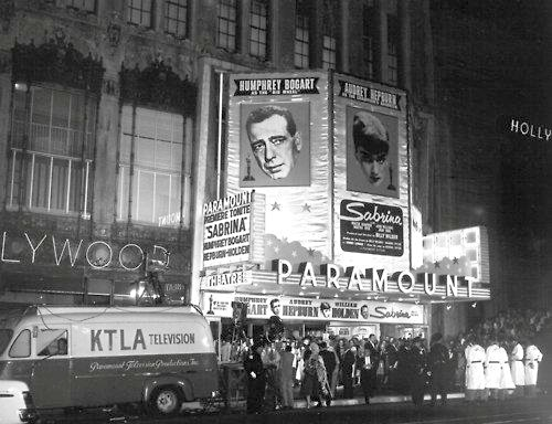 The 1954 premiere of Sabrina at the Paramount Theatre on Hollywood Blvd