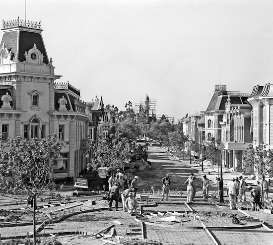 Building Main Street, Disneyland, circa early 1955