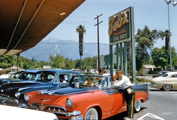 Bob's Big Boy drive-in restaurant, 3130 East Colorado, Pasadena, June 1956
