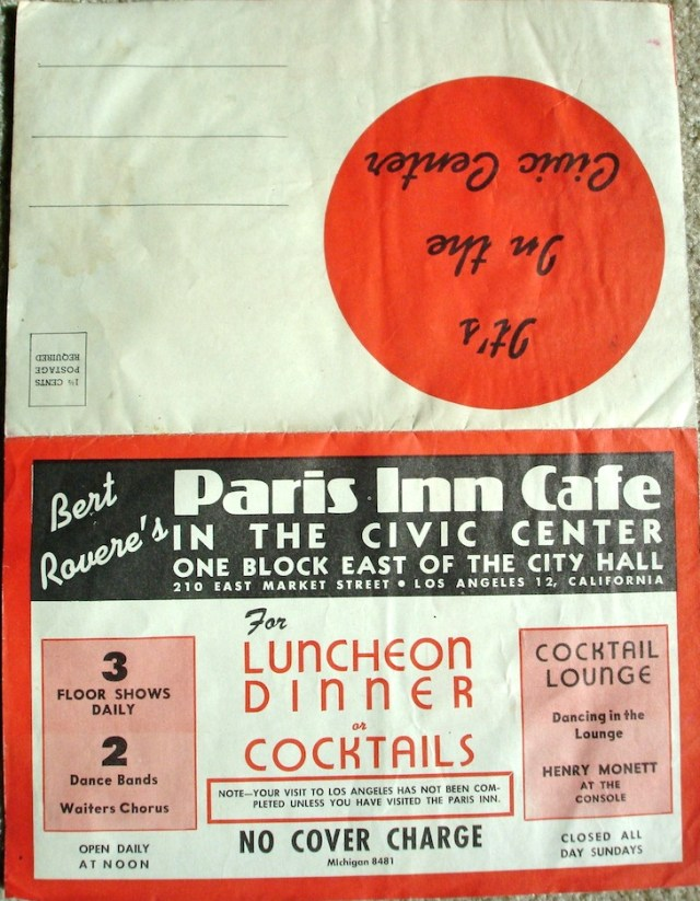 Bert Rovere's Paris Inn Cafe, 210 East Market St, Los Angeles