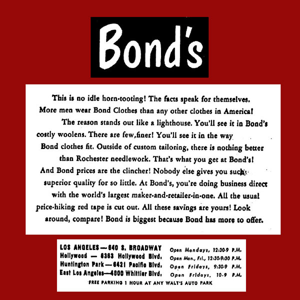 Bond's mens and boys clothing store, Los Angeles, 1950s