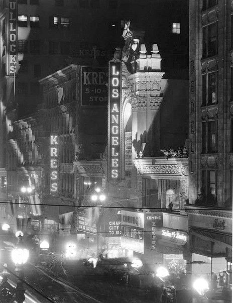 Los Angeles Theatre, Bullocks Department Store, Kress Five Dime, on Broadway in downtown Los Angeles, 1931