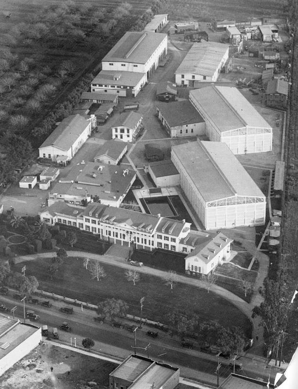 Aerial view of Ince Studios or the Pathe Exchange Studios (also known as Culver Studios) located on 9336 Washington Blvd. in Culver City