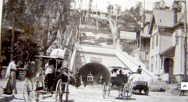 Early view of the 3rd Street Tunnel and Angels Flight, downtown Los Angeles, circa 1901