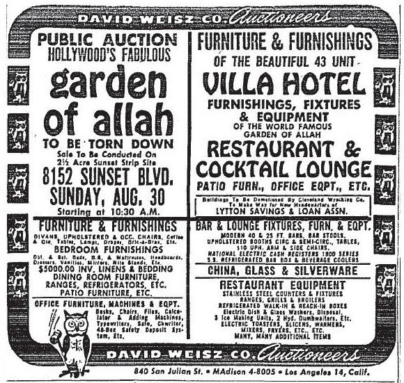 Garden of Allah Hotel closing down auction advertisement