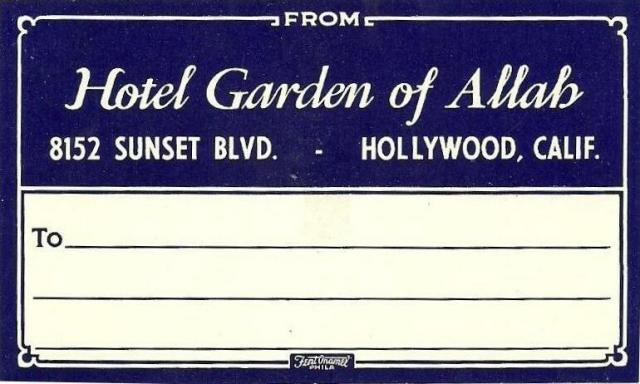 luggage label from the Garden of Allah hotel.