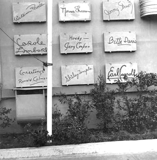 signature blocks on the side of the Earl Carroll Theater