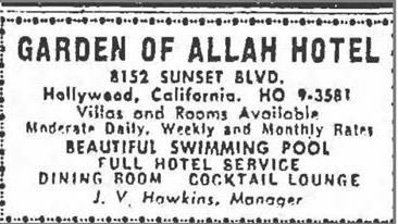 Garden of Allah Hotel advertisment, Los Angeles Times, Saturday, Oct. 22, 1949