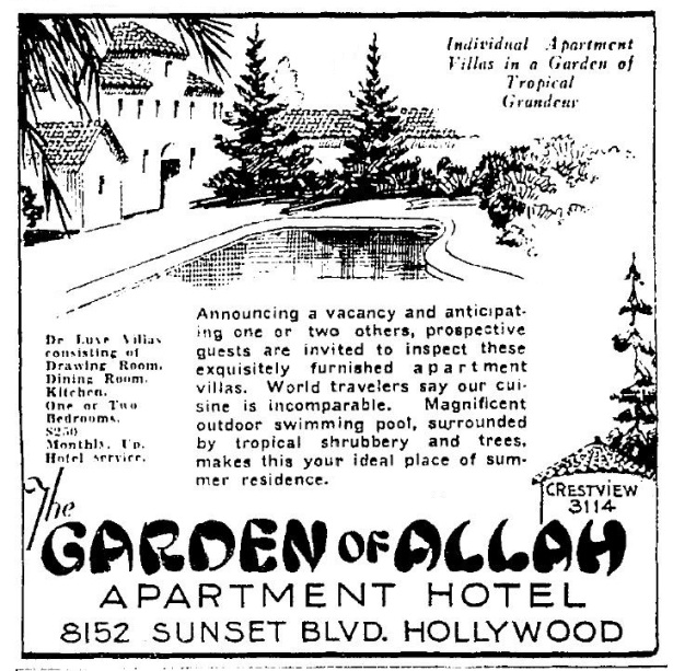 Garden of Allah hotel ad 3-18-1931