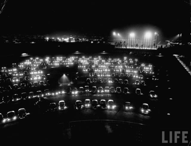 Gilmore Drive-in theater as seen from the top of the screen, Los Angeles, 1949