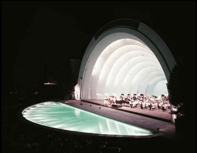 Hollywood Bowl with reflecting pool at night, circa 1953
