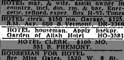 The Garden of Allah Hotel advertised for a handyman, December 6, 1943