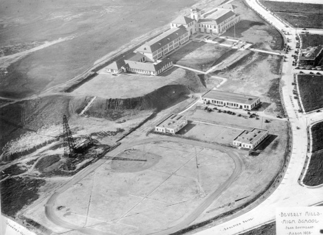 Aerial view of Beverly Hills High School at 241 Moreno Dr., 1928