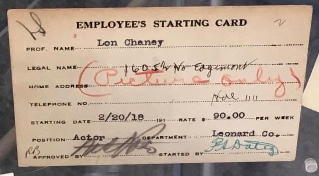 "Lon Chaney's ""Starting Employee Card"" at Universal Studios, February 20th, 1918"
