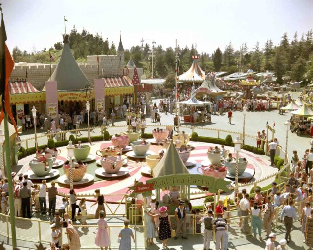Mad Tea Party ride at Disneyland on opening day, July 17, 1955